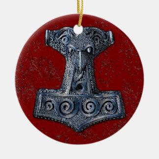 Hamer-Mjölnir van Thor in Blauw op Rood Rond Keramisch Ornament