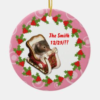 Hamster in een slee rond keramisch ornament