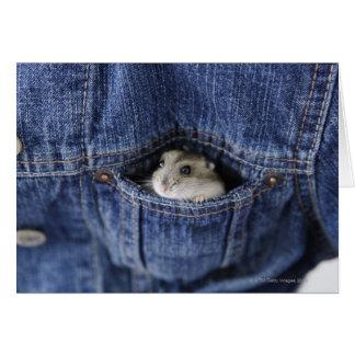 Hamster in zak wenskaart
