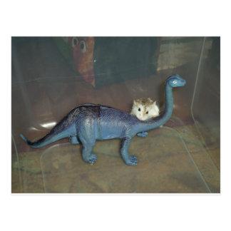 Hamster op een dinosaurus briefkaart