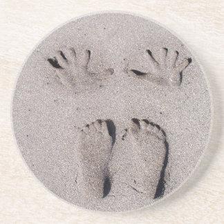 Hand en Voeten print in het strandzand van Florida Zandsteen Onderzetter