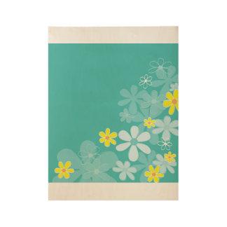 Hand - getrokken bloemen op Hout Houten Poster