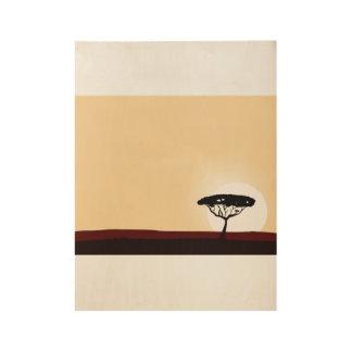 Hand getrokken houten Poster met zwarte boom