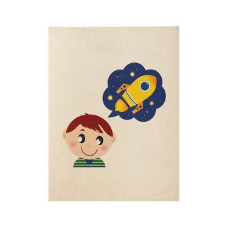 Hand getrokken Jongen die over Raket droomt Houten Poster