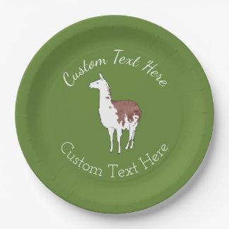 Hand Getrokken Kleur de u-Oogst van de Lama Als Papieren Bordje