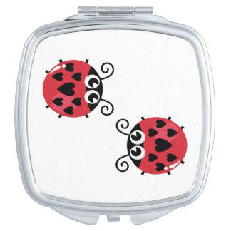 Hand - getrokken leuke Bijen op zilveren Spiegel Reisspiegeltje