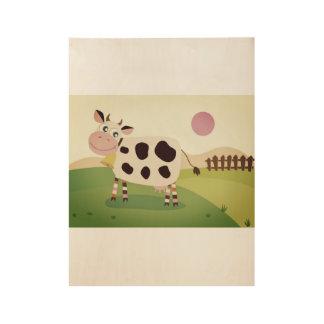 Hand getrokken leuke koe op weiland houten poster