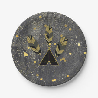 Hand Getrokken Veer & Tipi Gouden Zwarte Boho Glam Papieren Bordje