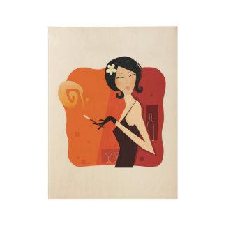 Hand getrokken Vintage meisje op hout Houten Poster