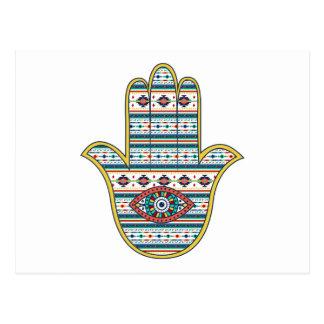 Hand HAMSA van het symboolamulet van Fatima, Briefkaart
