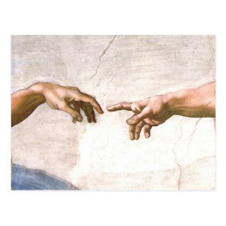 Hand van God door Michelangelo Briefkaart