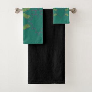 Handdoek 3 x smaragd groen met zwarte