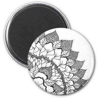 Handdrawn bloemenmandala zwart wit van Boho Magneet
