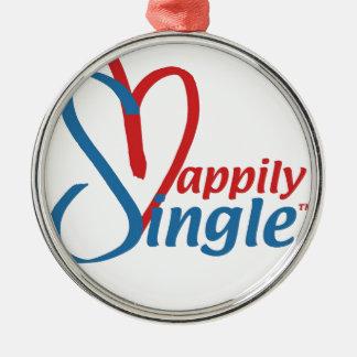 HappilySingle™ Zilverkleurig Rond Ornament