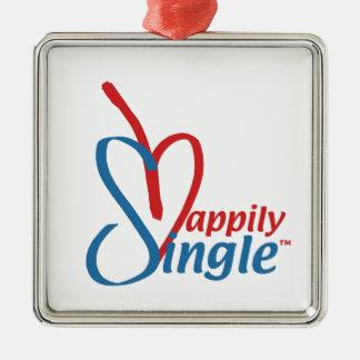 HappilySingle™ Zilverkleurig Vierkant Ornament