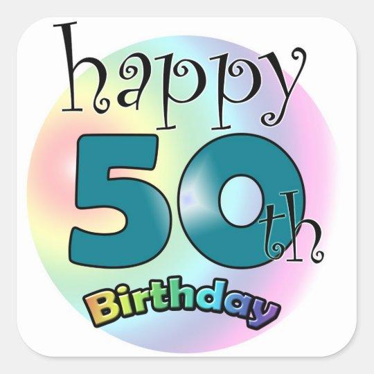 Happy 50th Birthday Vierkante Sticker
