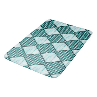 Harlekijn-blauw-houten-gingang Badmat