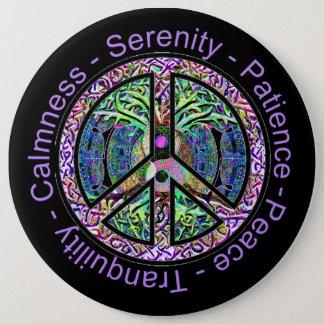 Harmonie, Saldo, Oneness het Symbool van de Vrede Ronde Button 6,0 Cm