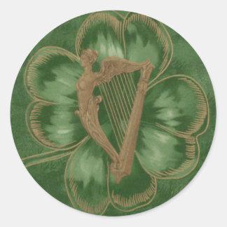 Harp van Erin Vier Groene de Klaver van het Blad Ronde Sticker