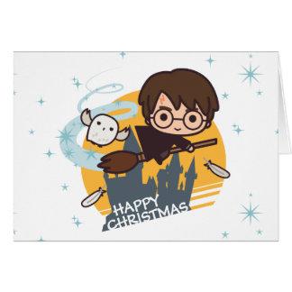 Harry en Hedwig Flying Past Hogwarts Christmas Wenskaart