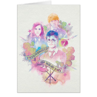 Harry Potter | Waterverf Harry, Hermione, & Ron Wenskaart