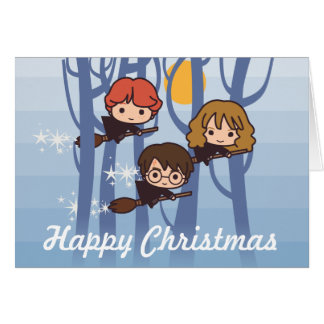 Harry, Ron, & Hermione die in Kerstmis van het Bos Wenskaart