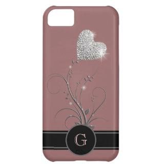hart bloem om aanvankelijke naam toe te voegen iPhone 5C hoesje