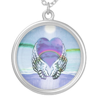 Hart, de Vleugels van de Engel & Oceaan Zilver Vergulden Ketting