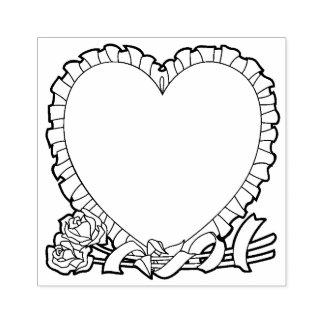 Hart gestalte gegeven grens voor uw bericht rubberenstempel