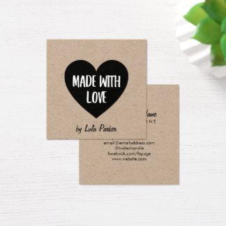 Hart & het Document van Kraftpapier met Liefde Vierkante Visitekaartjes
