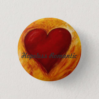 hart, Hopeloze Romantisch Ronde Button 3,2 Cm