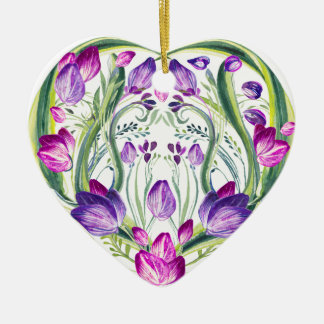 Hart in bloemen keramisch hart ornament
