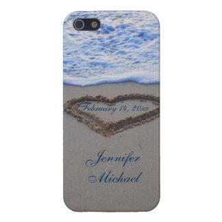 Hart in de Speciale Datum van het Zand van het Str iPhone 5 Case