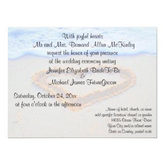 Hart in het Huwelijk van het Strand van het Zand 16,5x22,2 Uitnodiging Kaart