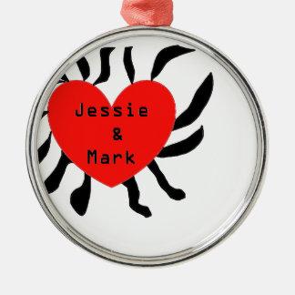 HART JESSIE AND MARK.png Zilverkleurig Rond Ornament