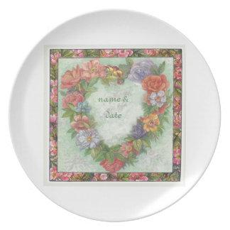hart kroon in geïllustreerde bloemengrens, douane party borden