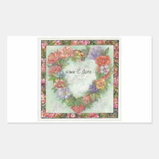 hart kroon in geïllustreerde bloemengrens, douane rechthoekige sticker