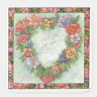 hart kroon in geïllustreerde bloemengrens, douane vierkant stickers