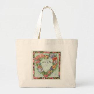 hart kroon in geïllustreerde bloemengrens, douane jumbo draagtas
