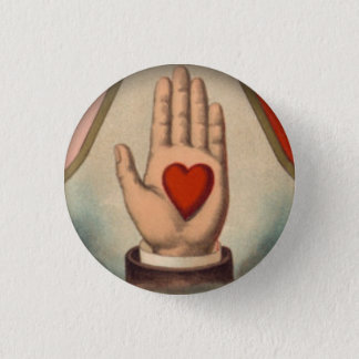 Hart ter beschikking ronde button 3,2 cm