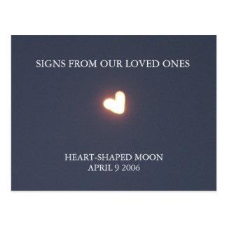 Hart-vormig maanbriefkaart briefkaart