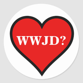 Hart WWJD Ronde Sticker