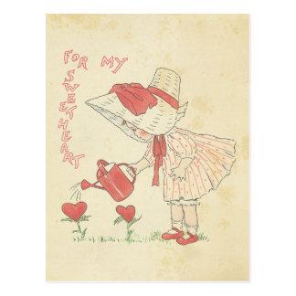 Harten van de Bloem van het Meisje van de vintage Briefkaart