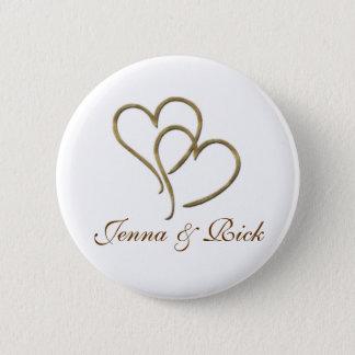 Harten van goud ronde button 5,7 cm