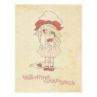 Harten van het Meisje van de vintage Groeten van Briefkaart
