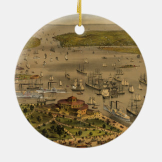 Haven van New York door Currier & Ives in 1878 Rond Keramisch Ornament