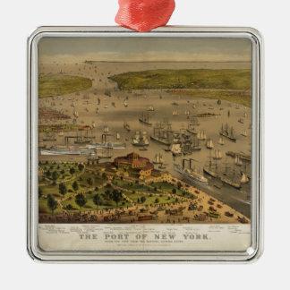 Haven van New York door Currier & Ives in 1878 Zilverkleurig Vierkant Ornament