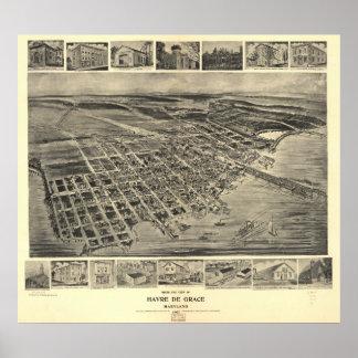 Havre DE Grace Maryland 1907 Antiek Panoramische Poster