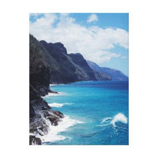 Hawaï, Kauai, Golven van de Vreedzame Oceaan Canvas Afdruk