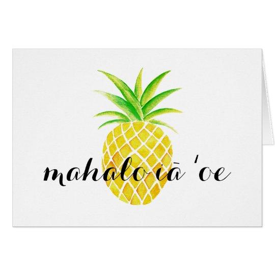 Hawaiiaans mahaloiā bedankt ʻoe van de Waterverf Notitiekaart